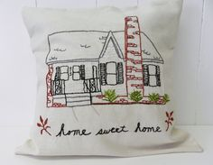 A personal favorite from my Etsy shop https://www.etsy.com/listing/162762459/personalized-house-pillow-cover