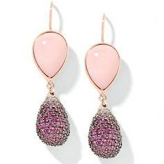Pink Opal and Gemstone Rose Vermeil Drop Earrings