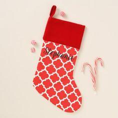 Christmas Red White Moroccan Quatrefoil DIY BG Christmas Stocking - diy christmas xmas merry christmas cyo holidays family gift idea