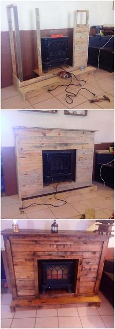 Check out this image that is completely showing you out with the splendid idea of putting up the effect of wood pallet in your house through the effect of fireplace coverage. This whole project has been set best into the crafting that is quite interesting and unique in appearance. #WoodProjectsDiyUnique
