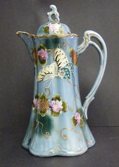 nippon chocolate pot | Nippon Antique Hand Painted Chocolate Pot |