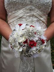 @Eliza Dobis   cool, huh?? Bouquet made for step daughter's wedding, using vintage jewelry and silk flowers