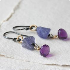 Raw gemstone earrings tanzanite nuggets & amethyst by Kianda