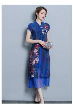 Fleepmart Temperament Printing Elegant Women Dress 2020 New Summer High End Double Silk Improved Cheongsam Short Sleeve Dresses Plus size