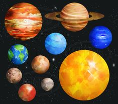 Watercolor Planets Clipart Set - Mars - Saturn - Uranus - Sun - Neptune - Pluto - Mercury - Venus Included in this package: - 1 ZIP file - 11 images - All Solar System Art, Solar System Projects, Solar System Planets, Solar System Clipart, Tattoo Planeta, Mars And Earth, Planet Colors, Planet Drawing, Science Clipart