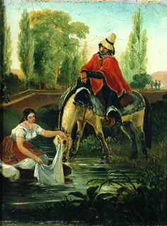 Johann Moritz Rugendas - The Huaso and the Washerwoman - 1835 - Museo Nacional de Bellas Artes, Santiago (Cile) Pintura Colonial, Johann Moritz Rugendas, Arte Equina, Spanish Art, Equine Art, Wall Art Designs, Pictures To Paint, Popular Culture, South America