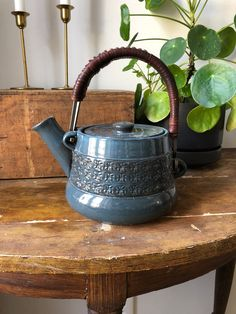 Excited to share this item from my shop: Swedish mid century modern tea pot designed by JIE teapot Sweden leather handle Circle Pattern, Close Up Photos, Clay Projects, Leather Handle, Danish, Sweden, Mid-century Modern, Tea Pots, Scandinavian