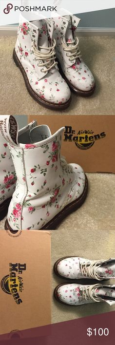 W 1460 Doc Martens size 7 These Doc Martens are size 7. They are stain free and gently used. The pattern is pink rose on white leather (portland rose). Dr. Martens Shoes Combat & Moto Boots