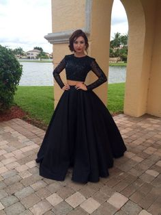 Long Sleeves Black Two Pieces Prom Dresses For Teens,Modest Prom Gowns,Charming Evening Dresses,Women Dresses, from lass Prom Dresses Two Piece, Prom Dresses For Teens, Prom Dresses Long With Sleeves, Prom Dresses 2018, Plus Size Prom Dresses, Black Prom Dresses, Women's Evening Dresses, Prom Party Dresses, Dress Prom