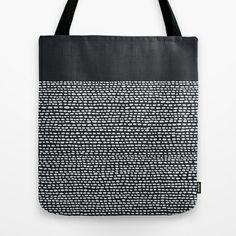 Riverside (Black) Tote Bag by Jacqueline Maldonado - $22.00  ***Like black and white, like minimal pattern