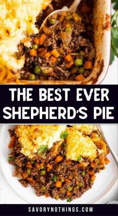 Make the ultimate comfort food for your family: Homemade Shepherd's Pie (or Cottage Pie) with ground beef (or lamb!) – simple, yummy and easy to make. Perfect for St. Patrick's Day, too! | #groundbeefrecipes #casserole #groundbeefrecipesfordinner #irishrecipe #irish #patricksday #stpatricksday #stpattysday #easydinner #comfortfoodrecipes Ground Beef Dishes, Ground Beef Recipes For Dinner, Easy Tart Recipes, Cooking Recipes, Delicious Dinner Recipes, Dinner Healthy, Yummy Food, Best Shepherds Pie Recipe, Cottage Pie