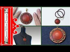 Polymer Clay Tutorial Faux Leather Faux Rivet Pendant - YouTube