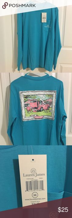 Lauren James Tailgate Sweet Tee NWT long sleeve sweet tee by Lauren James! Preppy tailgate design on the back on a beautiful blue pocket tee! Perfect for the fall or winter. Treat yourself or someone else to one of the softest tees you'll own! Lauren James Tops Tees - Long Sleeve