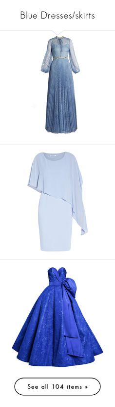 """Blue Dresses/skirts"" by delta14o6 on Polyvore featuring luisa beccaria, gown, light blue, dresses, gowns, blue mist, floor length evening dresses, evening cocktail dresses, blue maxi dress and short-sleeve dresses"