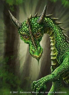 The dragon of the mountain pines was as green as her domain and her piercing eyes could spot the tiniest of intruders. EDK                              http://fc06.deviantart.nt/fs17/f/2007/143/e/2/Cute_Green_Dragon_by_Wardem.jpg