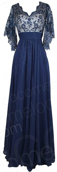 Fabulous A-Line V-Neck Natural Floor Length Chiffon Dark Navy Half Sleeve Zipper Mother of The Bride Dress with Sashes and Appliques COZF140A2 - Mother Of The Bride Dresses - Bridal Party Dresses #motherdress #cocomelody