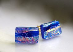 Father's Day Fused Glass Cufflinks OOAK Mens by SouthBeachGlassArt, $35.00