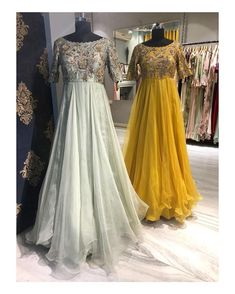 Beautiful pista green and yellow color floor length dress with hand embroidery work on yoke. Sarah collection from Mrunalini rao . Designer Anarkali Dresses, Designer Party Wear Dresses, Indian Designer Outfits, Long Gown Dress, Long Dresses, Long Frock, Long Gowns, Pretty Dresses, Evening Dresses