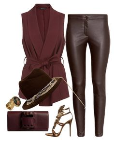 """""""Chocolate"""" by fashionkill21 ❤ liked on Polyvore featuring Yves Saint Laurent, Maison Michel, Giuseppe Zanotti and Perrin"""