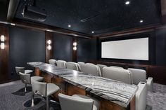 Awesome Basement Home Theater Design Ideas - Luxury Interiors Brilliant med. Awesome Basement Home Theater Design Ideas – Luxury Interiors Brilliant media room seating o Home Theater Room Design, Home Cinema Room, Home Theater Decor, Best Home Theater, At Home Movie Theater, Home Theater Speakers, Home Theater Rooms, Home Theater Seating, Home Design