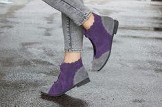 Bangi Shop : Purple & Grey Suede Boots