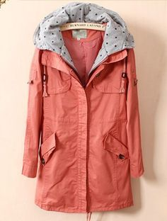 Pink Hooded Drawstring Trench Coat