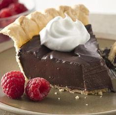Silky Dark Chocolate Pie.  You can use regular semi-sweet chocolate chips.  I do make my own crust from scratch.