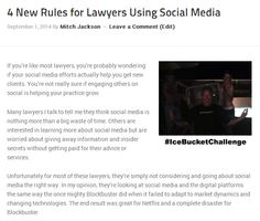 """My new article """"4 Rules for Lawyers Using Social Media"""" http://mitchjackson.com/4-rules-lawyers-using-social-media/  #law #lawyers #socialmedia"""