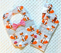 Personalized Burp Cloth and Bib Set with Dapper Bow Tie - Baby Boy Gray Red and Brown Foxes and Chevron