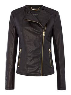 PU jacket with asymetric zip