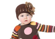 Brown Crochet Hats with Brown Rose