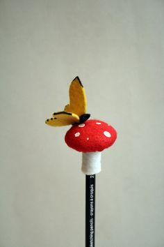 felt toadstool pencil topper by RoyalMint on Etsy, $16.00