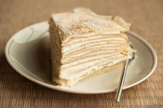 Crepe Cake - so easy to make 1) make crepe  cool 2) whip cream (add liquor if desired) 3) Assemble on serving plate   a) 1 crepe    b) spread w/ whipped cream,    c) repeat a + b until topped with last crepe 4) Cover in wax paper, then plastic wrap  let rest in fridge 1 day. 5) Unwrap, cut and serve 6) Accept praise from guests EASY
