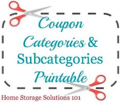 Suggested coupon categories and subcategories printable for when organizing your coupons {on Home Storage Solutions 101}