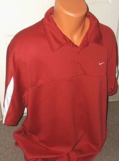 NIKE Retro SPHERE DRY MEN'S Size X LARGE XL SS RED /White Polo Golf Casual Shirt #Nike #PoloRugby