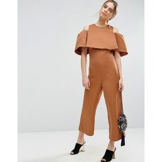 ASOS Bonded Off Shoulder Jumpsuit (195 SAR) ❤ liked on Polyvore featuring jumpsuits, brown, asos jumpsuit, off shoulder jumpsuit, zipper jumpsuit, off the shoulder jumpsuit and tall jumpsuit