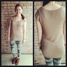 Fever is a brand we have carried for a while and we love their great fitting basics. This neutral colored lightweight cardi is available Small-XL and is $78. #fever #fashion #lafayette #shortsleevesweater #camoleggings #CJbyCookieJohnson
