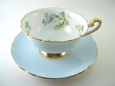 Antique SHELLEY Tea Cup And Saucer Blue  by AntiqueAndCrafts