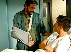 In My Tiime of Dying -- (L-R) Pictured Jeffrey Dean Morgan as John Winchester and Jensen Ackles as Dean Winchester SUPERNATURAL - (This scene still breaks my heart. John Winchester, Dean Winchester Supernatural, Supernatural Season 2, Castiel, Jeffrey Dean Morgan, Rhode Island, David Gray, Jensen Ackles Jared Padalecki, Best Supporting Actor