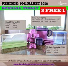 Promo Tulipware 2 Free 1, Bread N Serve, Large tea Set, Medium Cookie Jar | 10 - 11 Maret 2014