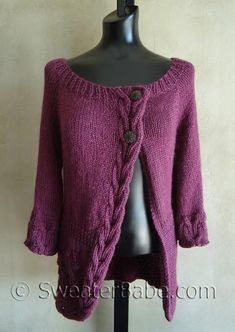 Here's a top-down cardigan with lots of pretty details. It features a gorgeous ribbed cable that drops down the front and finishes off the curved right front hem. The ribbed cable is repeated on the slightly flared wide cuffs.A shaped waist is accentuated with ribbing detail. The lower part of the cardigan is decorated with pretty flower and stem raised motifs on the right front and staggered in the back.An asymmetrical design, longer length, and an alpaca blend yarn (Andean Silk yarn f...