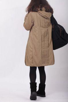 hoodie Padded Coat Women Winter black Coat от MaLieb на Etsy