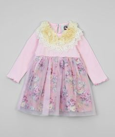 Look what I found on #zulily! Pink Floral Mesh-Overlay Dress by Baby Loo #zulilyfinds
