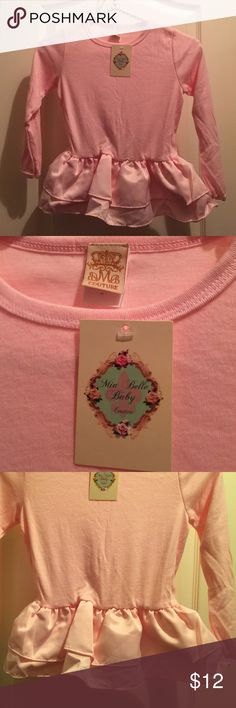 Mia Belle Baby Pink Peplum long sleeve Top ~ 7 Mia Belle Baby Couture Pink Peplum Long sleeve winter top.  Ruffled Peplum bottom.  Just adorable!!  Size 7~ Thank you for visiting my closet !!  😊🎀 Mia Belle Baby Shirts & Tops Tees - Long Sleeve