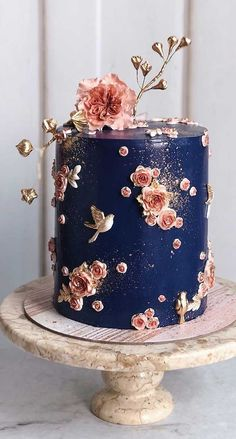 Dark blue wedding cake - Prettiest & Unique Wedding Cakes , 59 unique wedding cake designs, unique wedding cakes, pretty wedding cake, wedding cake ideas wedding cakes cakes elegant cakes rustic cakes simple cakes unique cakes with flowers Pretty Wedding Cakes, Square Wedding Cakes, Elegant Wedding Cakes, Wedding Cake Designs, Pretty Cakes, Blue Wedding, Summer Wedding, Wedding Colors, Bird Wedding Cakes