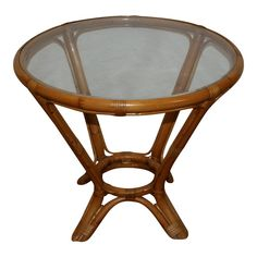 Tropical Furniture, Bamboo Furniture, Table Furniture, Glass Top End Tables, French Chairs, Color Tones, Beveled Glass, Rattan, 1960s