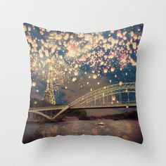 Love Wish Lanterns over Paris Throw Pillow by Paula Belle Flores - $20.00