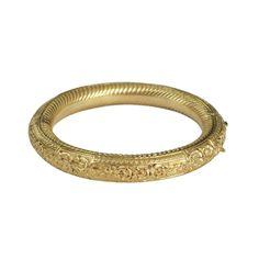 Vintage 18K Gold Repousse Floral Bangle Bracelet, c. 1950s. $2300