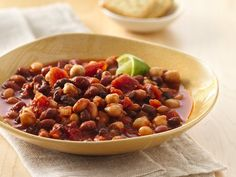 Slow Cooker Chipotle Four-Bean Chili with Lime