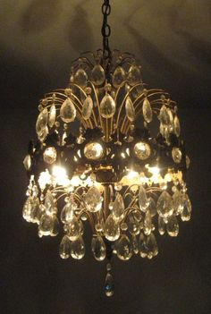 """Antique Vintage French Spider Style Crystal Chandelier Lamp 1940s 46"""" Diam."""